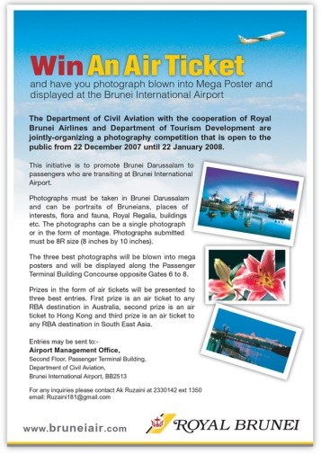 This photo competition is open until 22 Jan '08. Prizes - air tickets to any destination in Oz, Hong Kong and SEA.