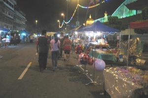 A section of the dozens of stalls erected along Jalan Pemancha in the capital.