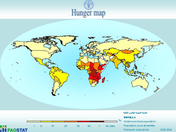 Hunger map. Four percent of Brunei's population are under-nourished said the FAO.