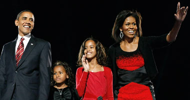 Obama and his family after the victory.