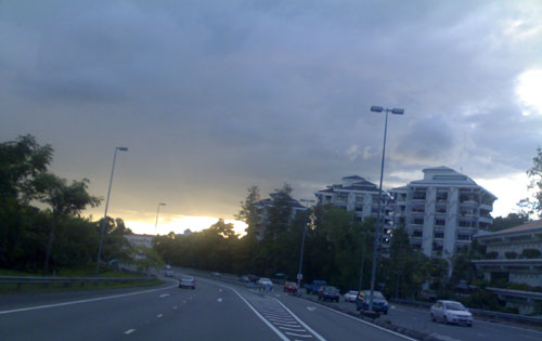 Near Mabohai around sunset. Notice the dark clouds.