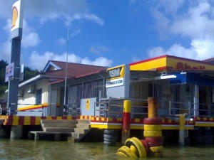 Seri Cermin Fuel Station - your usual fuel station but on water. Cermin is a name of a nearby island. See below.
