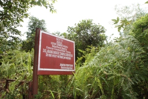 Err, a not welcoming sign to the forest reserve area. Its a forest reserve!