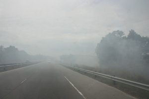 Holy smoke! The otherentrance to the Badas Forest Reserve Area was under fire.