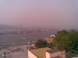 Haze blanketing Brunei Muara. Istana Nurul Iman could usually be seen in the background but not this morning.