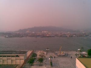 Part of Kampong Ayer or the Water Village this morning. Not only its hot now in Brunei with the maximum temperature recorded at 40 C yesterday but its also hazy.