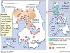 Graphic on where Ketsana has hit the Philippines. Image from Reuters.